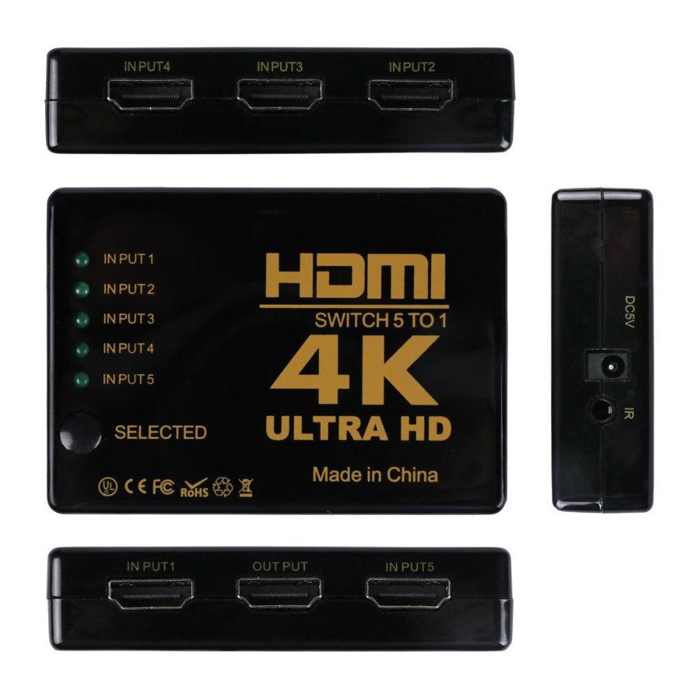 Mini 3D P 1080 P 5 Puerto 4 K HDMI interruptor conmutador Selector Splitter Hub + IR remoto para HDTV