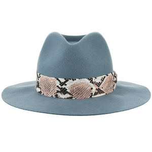 Image 2 - GEMVIE Brand Soft 100% Wool Felt Hat Floppy Wide Brim Women Fedora Hat Snake skin Striped Band Jazz Cap Lady Winter Panama Hat