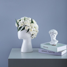 Nordic style Creative Human head model Ceramic vase Round hole Flower arrangement Home living room Decoration Flower vase nordic creative human face ceramic vase white art abstract flower vase flower pot flower arrangement ornament home decoration