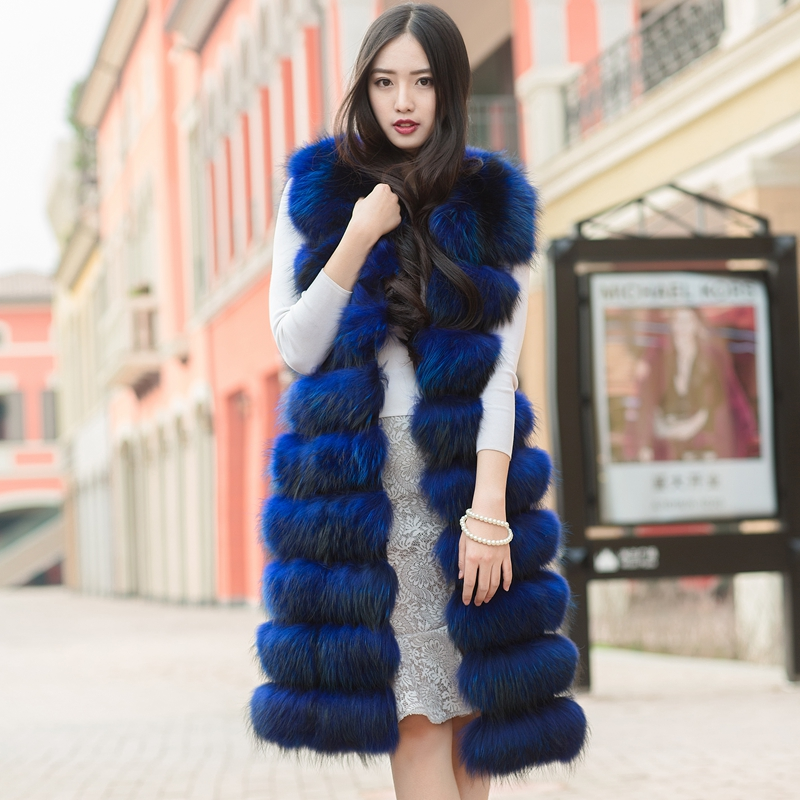 100 cm Lungo Genuino Reale Raccoon Gilet di Pelliccia Gilet Senza Maniche del Cappotto Outwear Vino Nero Blu Viola Natura Marrone Abitudine Fare