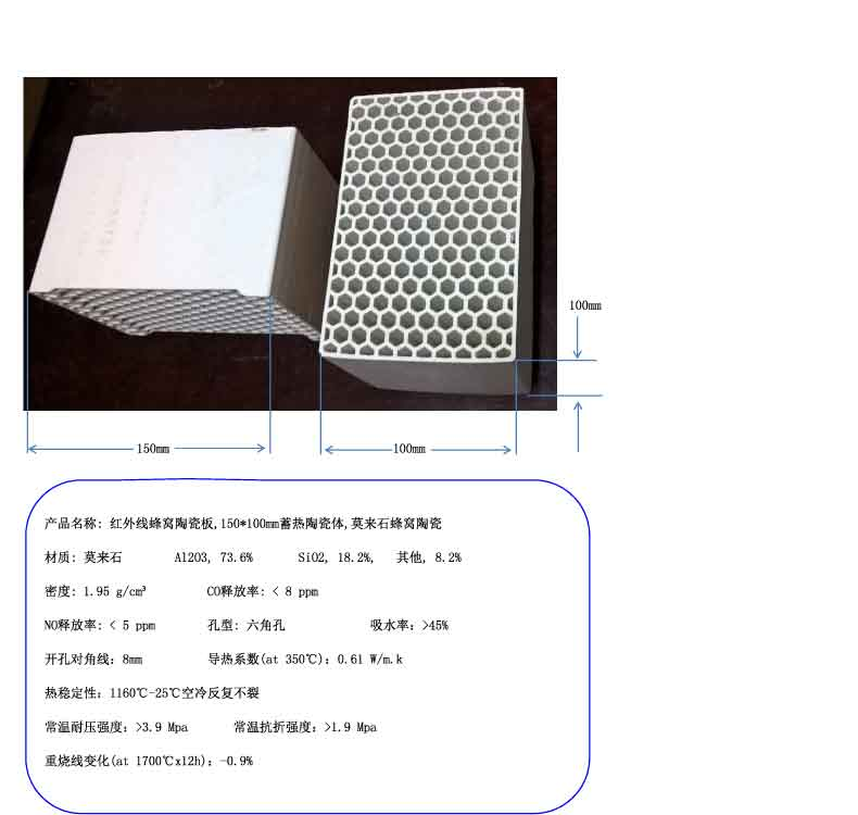 The infrared ceramic plate honeycomb regenerative ceramic body 150 100mm mullite honeycomb ceramics