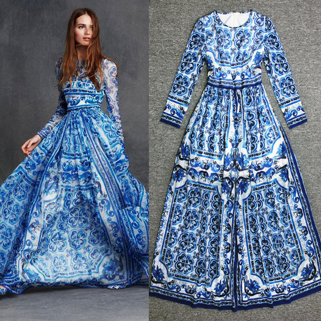 e894fd4d646 Blended silk long-sleeved blue and white maxi dress put on a large 2018  autumn new European style elegance