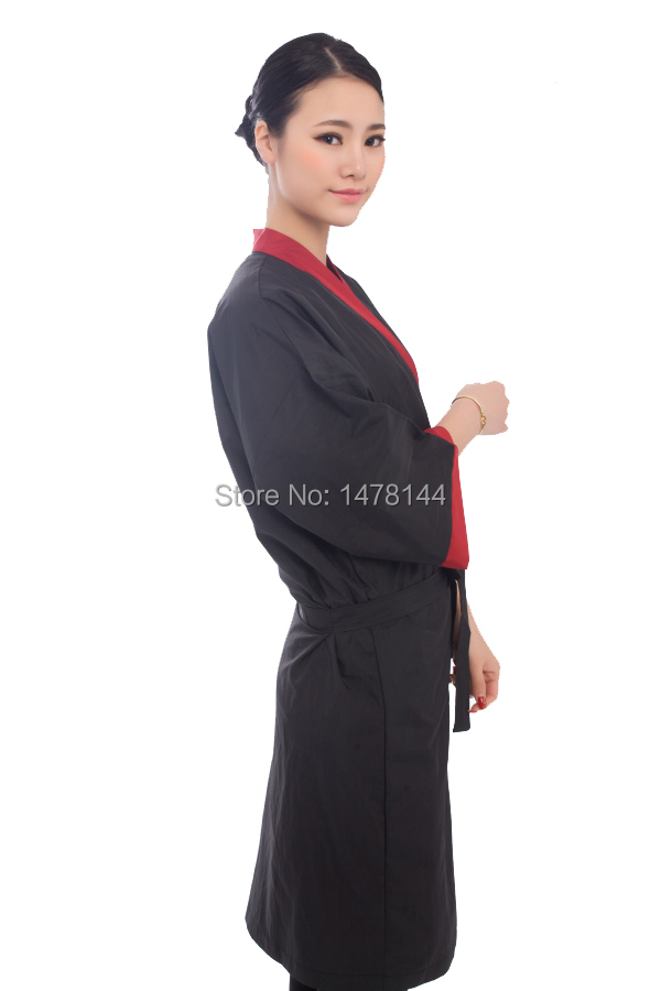 Black Salon Client Gown Hairdressing Gowns Kimono Style 43\