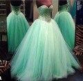 Sexy vestido de Bola de Quinceanera Vestidos de Novia con cordones de Tulle Crystal Party Dress Prom Gowns15 Años Vestidos De 15 Anos