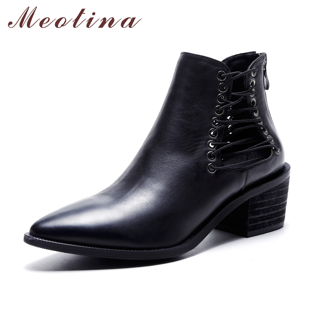 Meotina Brand Genuine Leather Women Martin Ankle Boots Pointed Toe Zipper Shoes Mid Heel Ladies Boots Autumn Black Size 34-40 meotina brand design mules shoes 2017 women flats spring summer pointed toe kid suede flat shoes ladies slides black size 34 39