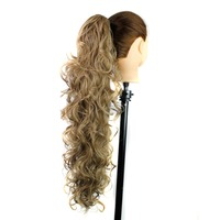 Soloowigs Bouncy Curly Long Synthetic Hair Claw Pony Tails 26inch 65cm Blonde Flax Brown Artificial Tonytail