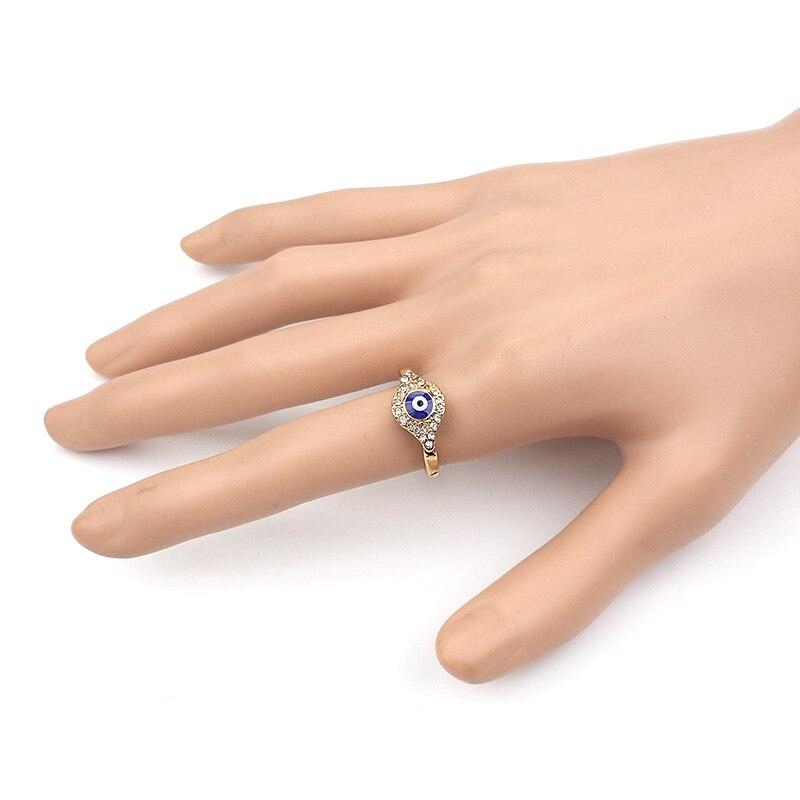 Şanslı gözlü qızıl şər gözlü üzük Türk kristal üzüyü - Moda zərgərlik - Fotoqrafiya 6