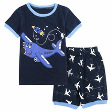 Cute Summer Airplane Printed Cotton Baby Boy's Pajamas