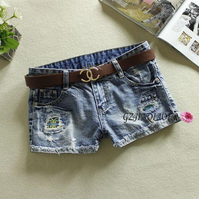2016 jeans womens summer low waist shorts rivet jeans feminino light blue 100% cotton rivet pattern cortos mujer jeans shorts