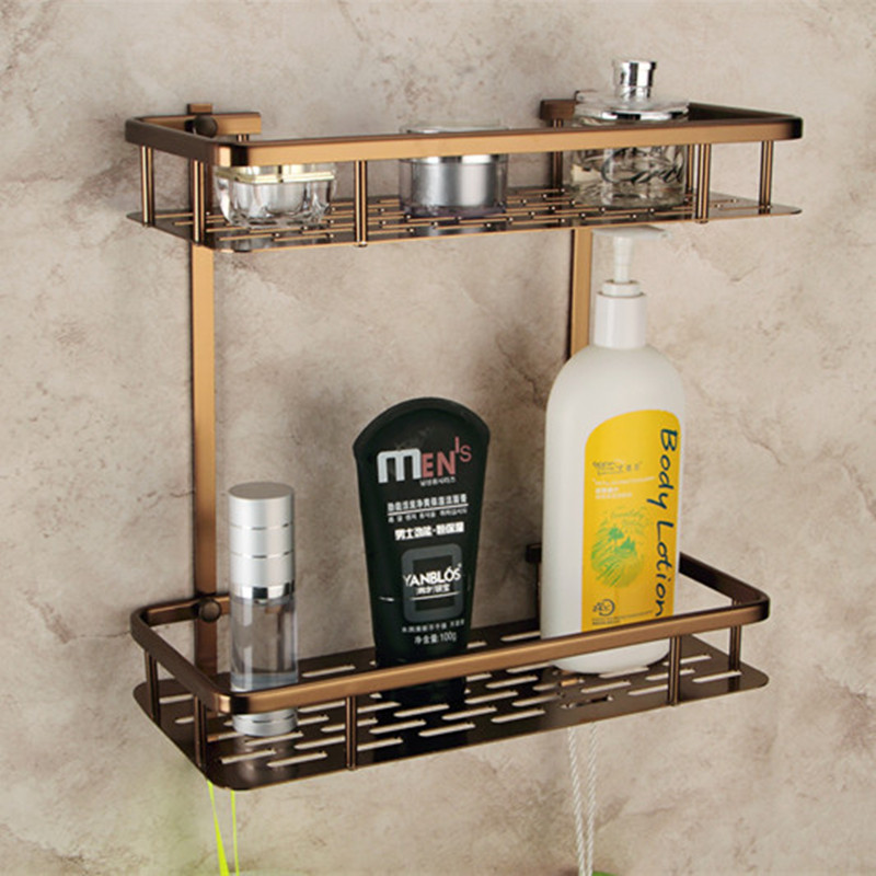 Europe Antique Bathroom Shelves Double Layer Towel Rack Space Aluminum Bronze Shelf Storage 300*360*140mm RU-EX factory outlet iron bathroom shelf storage rack shelves multilayer promotions