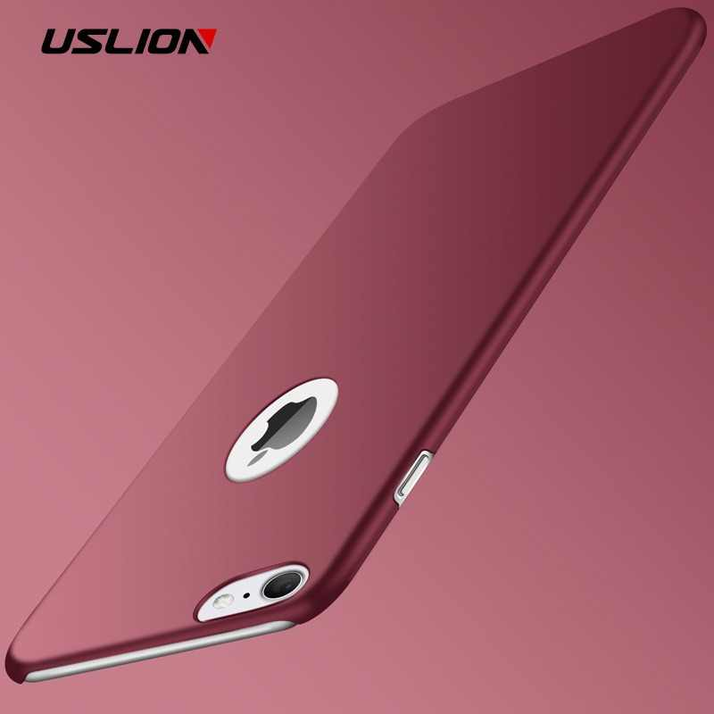 USLION Ultra Thin PC Caso Fosco Para o iphone 7 Plus XR XS Max X Coque Simples Tampa Do Telefone Simples Para iPhone 5 6 6 S Plus 5S SE Casos