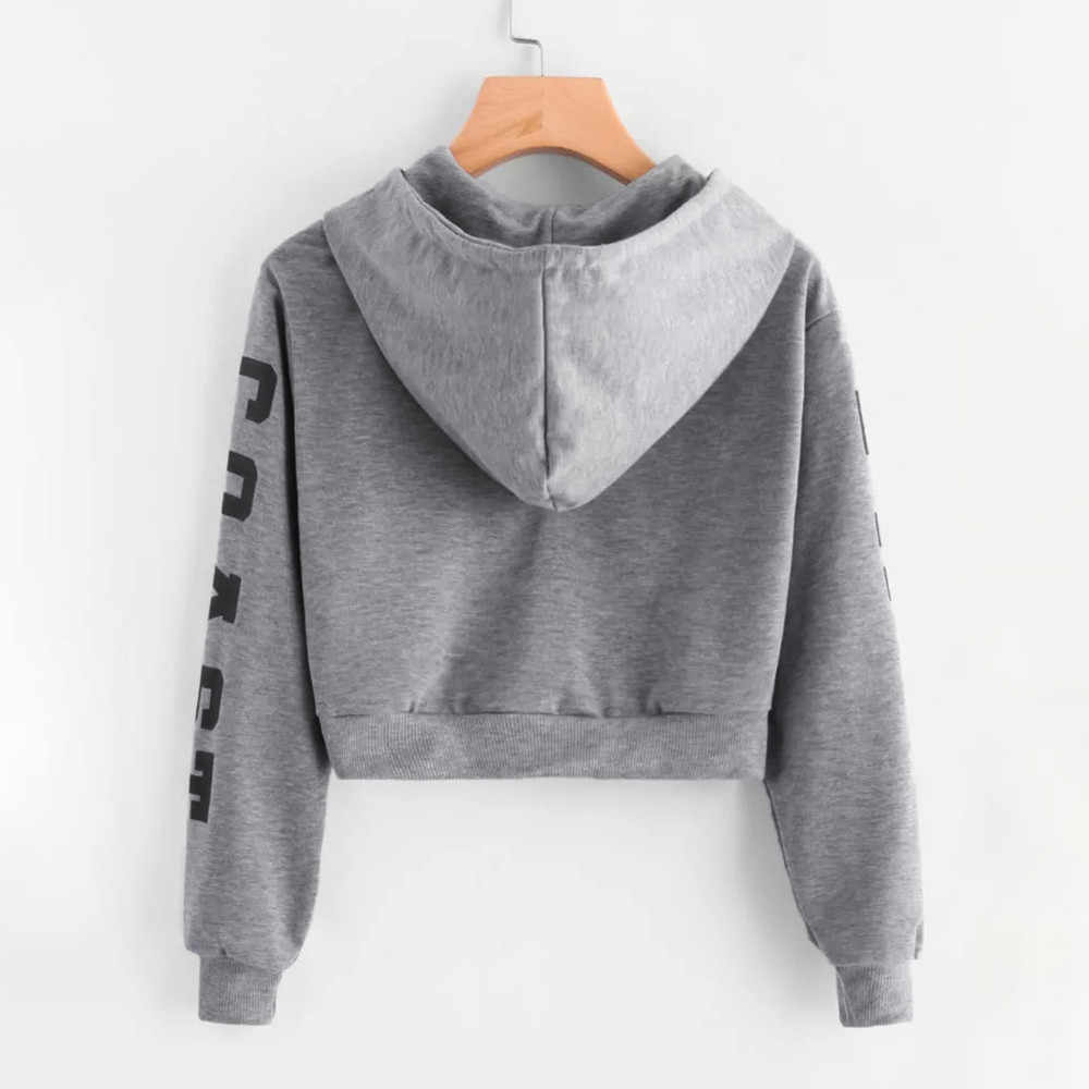 Feitong Autumn Womens Crop Tops Hoodies Causal Long Sleeve Sweatshirt Letters Hooded Short Pullover Sweatshirts sudaderas mujer