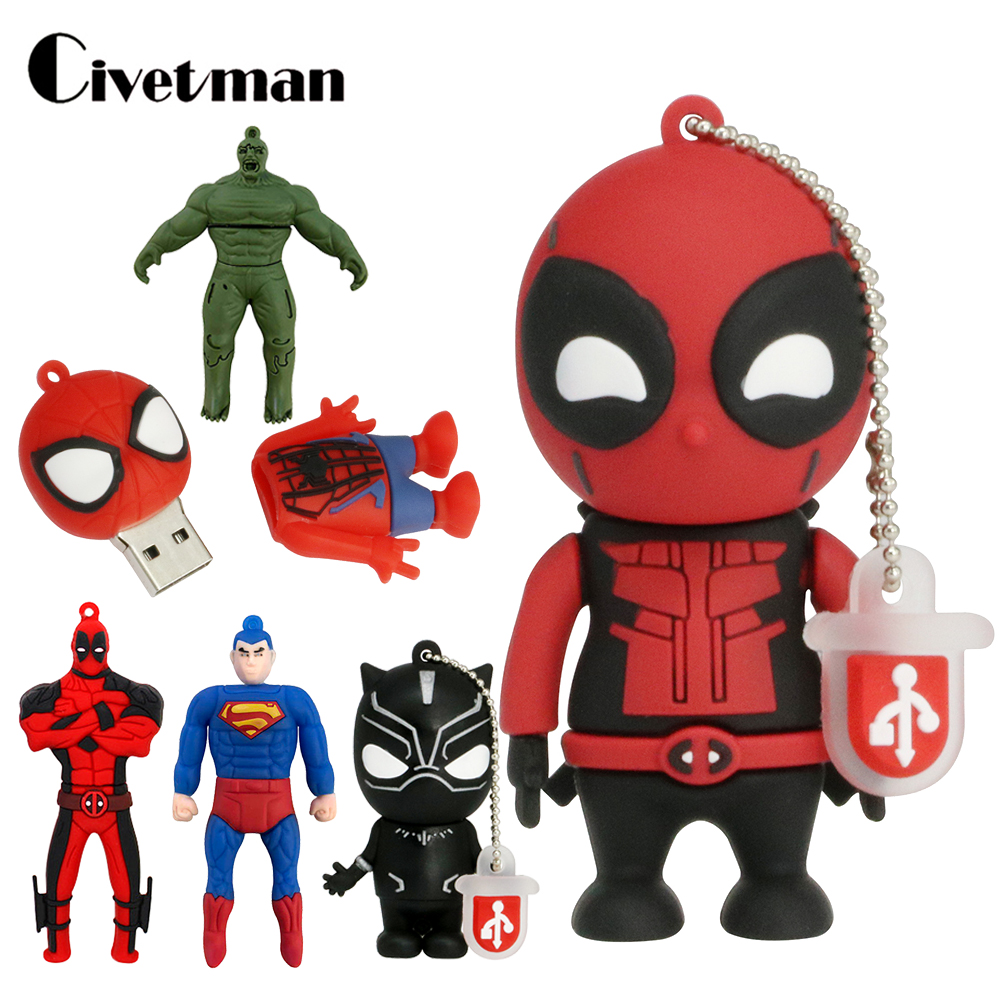 USB 2.0 Flash Drive Cartoon 64GB Pendrive Superhero Hulk Deadpool 4GB 8GB 16GB 32GB Memory Stick Disk Creative Toy Superman Gift