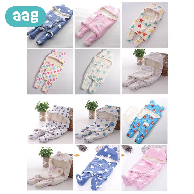 AAG Baby Sleeping Bags Printing Double Layer Plush Blanket Infant Swaddle Carpet Blanket Envelope For Newborn Sleepacks 0-1Y 20