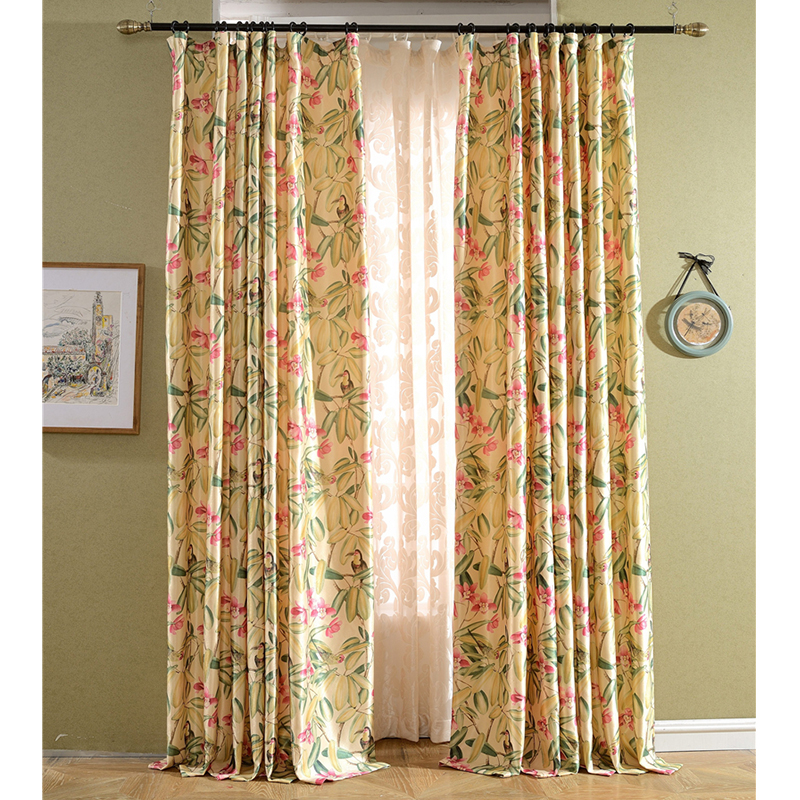 Classic American Country Style Printed Window Curtains Retro Style Design Curtains Fabric For