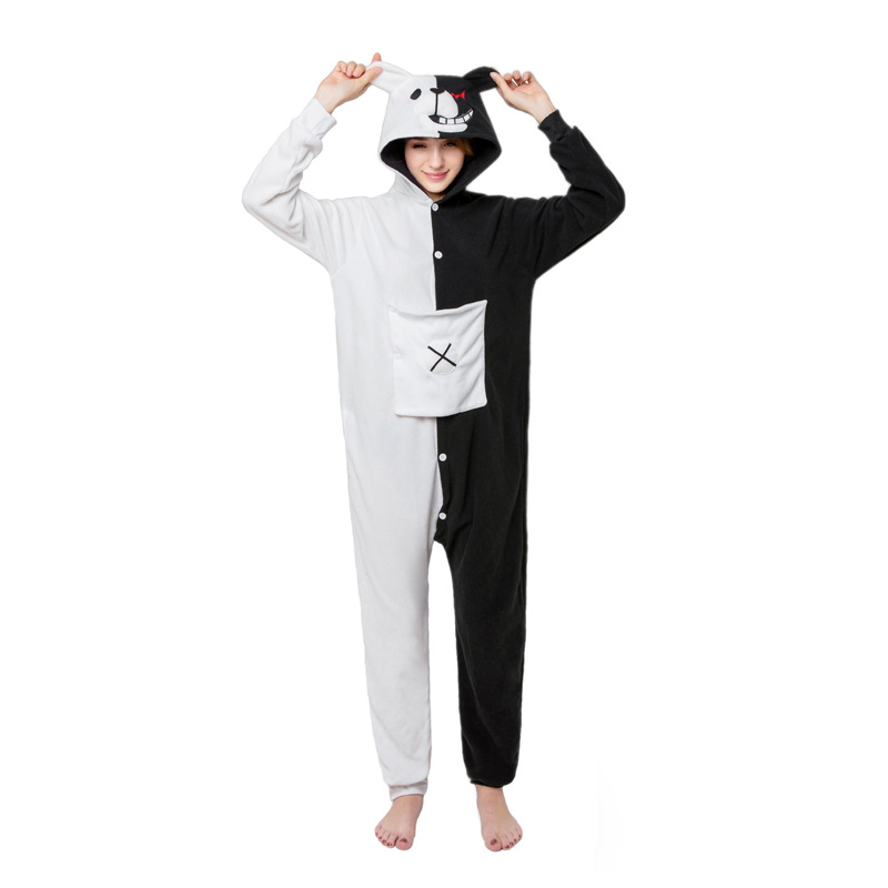 monokuma Kigurumi Onesies Costumes 2019 Men and women Hooded animal cartoon pajamas blue shark home lovers long sleeve Cosplay