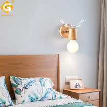 Wooden LED Wall Lamp E27 Bulb Bedroom Light Living Room Hotel Lighting Retro Vintage Stair Indoor Wall Lights Sconce Lamp loft industiral retro wall lamp glass flower cover iron wall light hotel bar indoor two wooden wall mounted swing arm lights