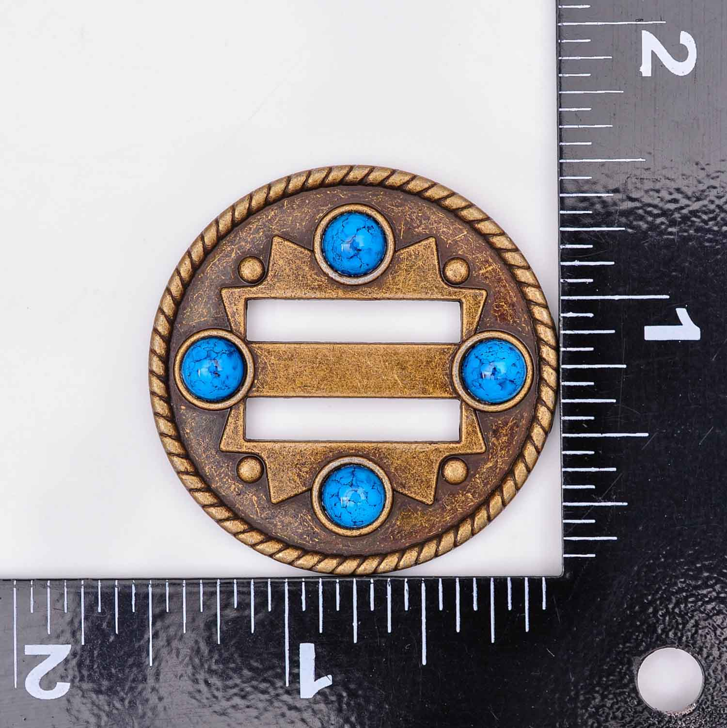 10X Turquoise Cowboy Selle Western Tack Leathercraft ceinture fendue Concho 1-1//2/""