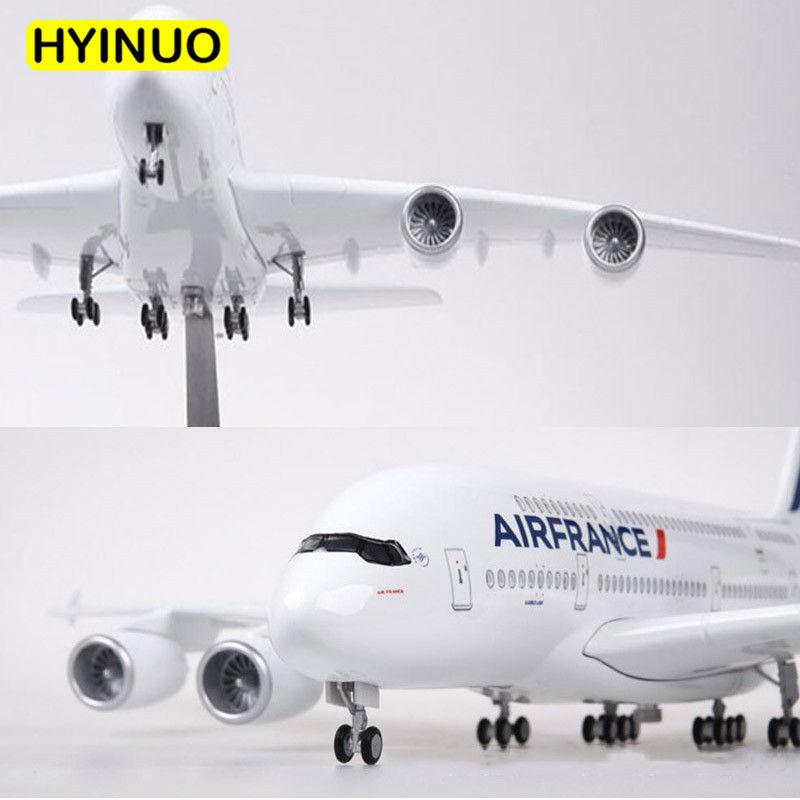 1 160 Scale 50 5CM Airplane Airbus A380 Air France Airline Model W LED Light Wheel