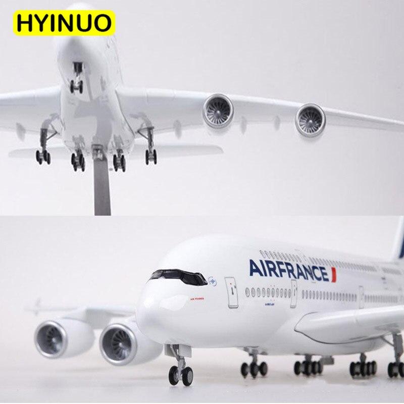 Oyuncaklar ve Hobi Ürünleri'ten Pres Döküm ve Oyuncak Araçlar'de 1/160 Ölçekli 50.5 CM Uçak Airbus A380 Air France Havayolu Modeli W led ışık ve Tekerlek Diecast Plastik Reçine Uçak Için toplama'da  Grup 1