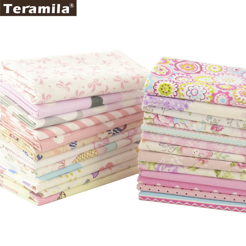 Teramila Cotton Fabric 25 Designs Pink Series Quilting Charm Packs Fat Quarter Meter DIY For Bedding Clothing Dress Home Textile