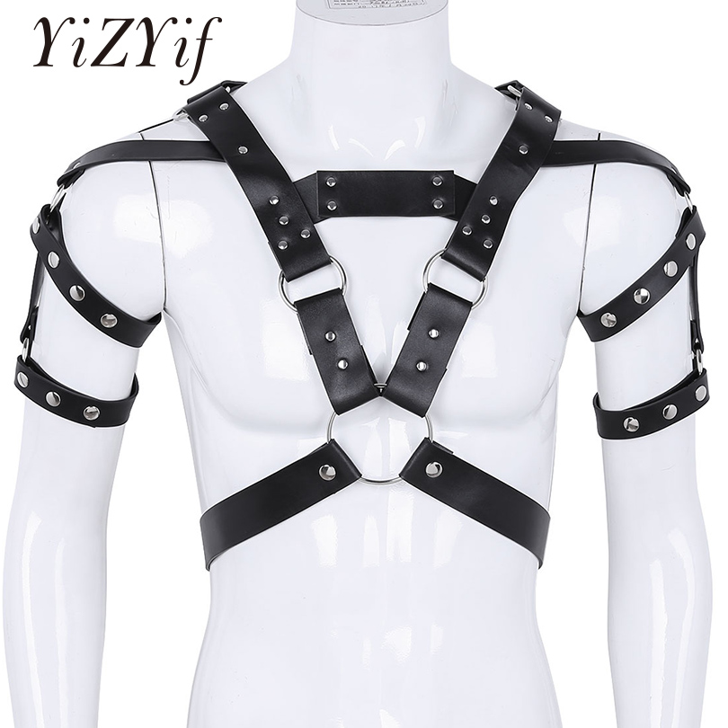Detail Feedback Questions about YiZYiF Harness Men Fetish Zentai Adjustable  PU Leather Metal Rivet Studs Body Chest Shoulder Half Harness Belt Arnes  Gay ...