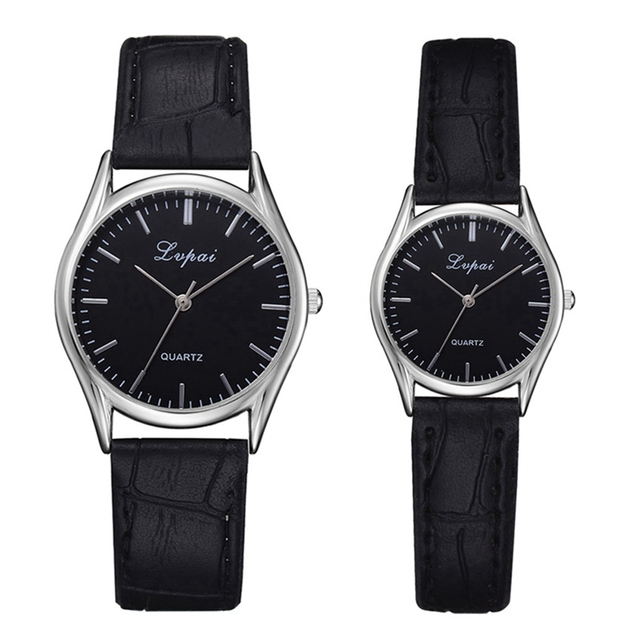 Lvpai Brand Couple Watches Fashion Casual Black Quartz Women Men Watch Minimalis