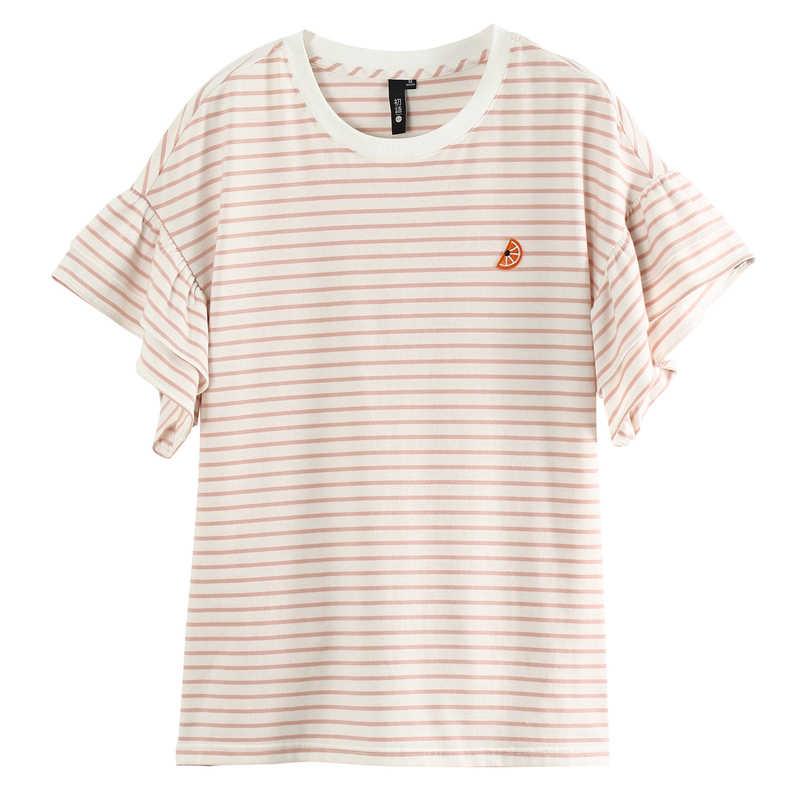 Toyouth, женская летняя полосатая футболка в стиле Харадзюку, свободная футболка с оборками и коротким рукавом, летняя повседневная женская футболка, топы