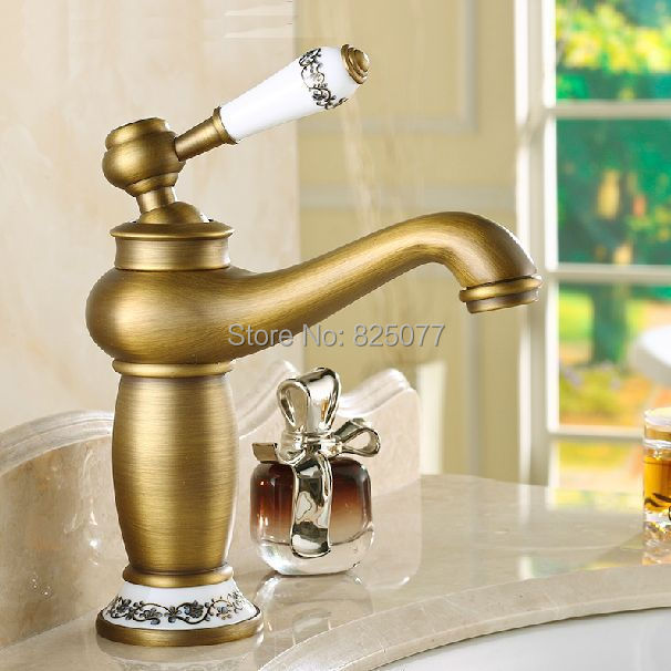 Free Shipping 2017 New arrival Bathroom Basin Faucet Antique bronze Brass Mixer Tap with ceramic torneiras para banheiro KF26 new arrival antique carving black bronze toothbrush holder brass ceramic cup tumbler holders bathroom accessories bath products