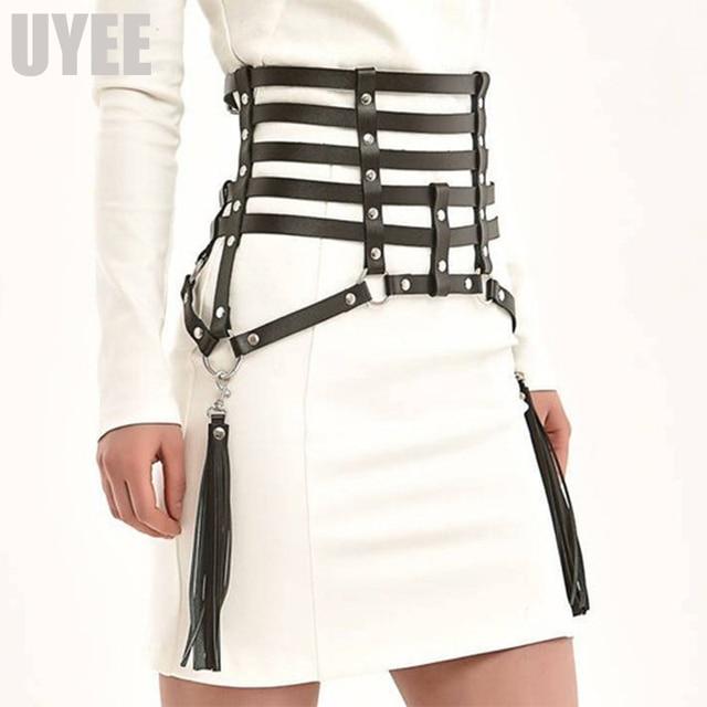 UYEE Creative Tassels Suspenders Leather Garter Belt Sexy Harness Body Bondage Skirts Prom Dress Bdsm Bondage For Women LP 026