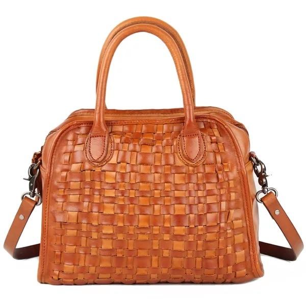 Vintage Designer Genuine Soft Cow Leather Handmade Women Knitted Bag Zipper Closure Lady Handbag Female Crossbody