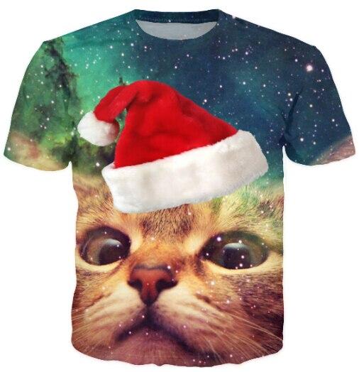 free shipping womenmen cat christmas cap space galaxy t shirt cartoon 3d tee new
