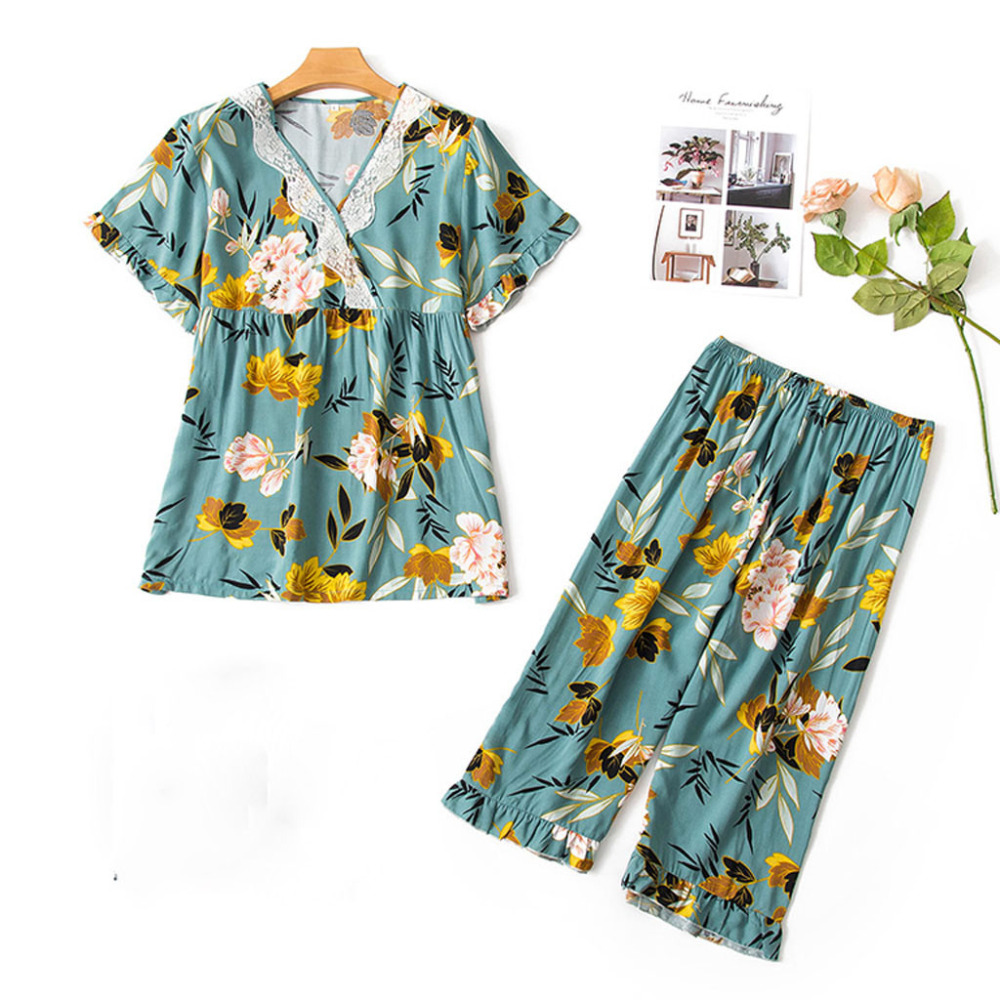Summer Print   Pajamas     Set   Women Sleepwear   Set   Calf-Length Pants Tops Nightwear 2PC   Set   home clothes for women home suit #15