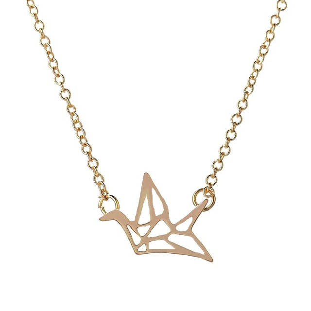 SMJEL New Fashion Origami Crane Pendant Necklaces for Women Simple Bird Animal Statement Necklace Bridesmaid Gifts N006
