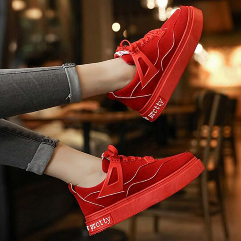 ФОТО 2017 Spring New style Korea  shoes lace casual shoes comfortable with platform shoes suede round head women's shoes