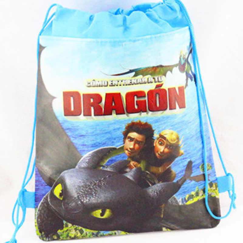 How to Train Your Dragon Non-woven Drawstring Bags School Swimming Softbackp Kid Birthday Gift Toothless Light Fury Action Toy