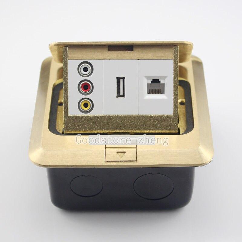 Bronze Pop-up AV & USB & RJ45 Prise LAN Panneau de Plancher Prise De Terre Réceptacle