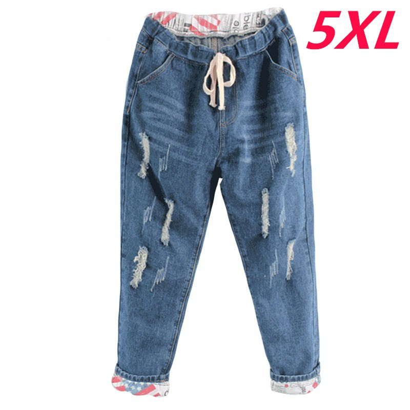 Plus Size 5XL 2018 Boyfriend Denim Jeans Women Mid Waist Straight Pants Ladies Ripped Loose Womens Jeans Pants Cowboy Pants