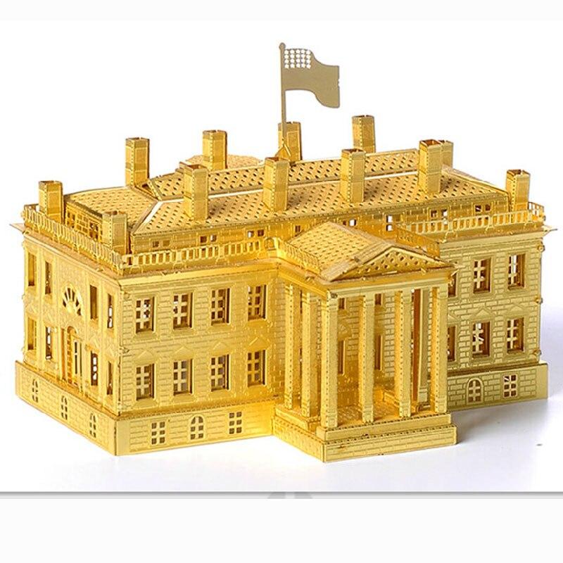 Kit de modèle en argent or modèle de Puzzle en métal 3D la maison blanche bricolage découpe au Laser assembler des jouets de Puzzle découpés au Laser Jisaw jouets pour enfants