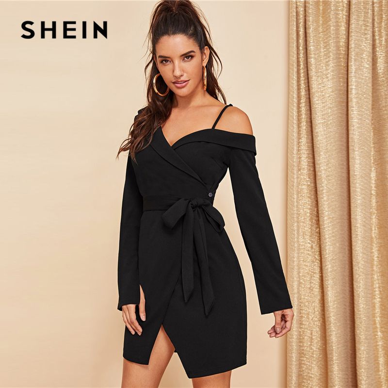 SHEIN Black Asymmetric Shoulder Wrap Dress Party Sheath