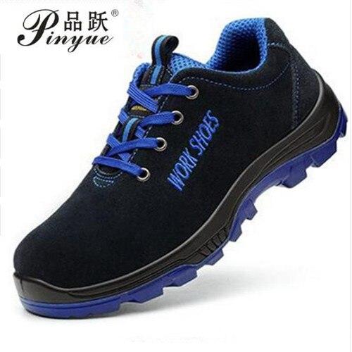 Мужская Рабочая обувь со стальным носком, теплые дышащие мужские повседневные ботинки, проколы, рабочая обувь, большие размеры 35-50