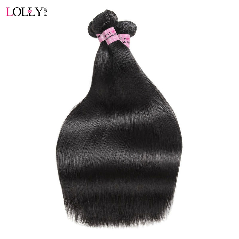Lolly Hair Straight Hair Bundles Peruvian Hair Bundles 100% Human Hair Weave Extensions Double Weft Non Remy Free Shipping
