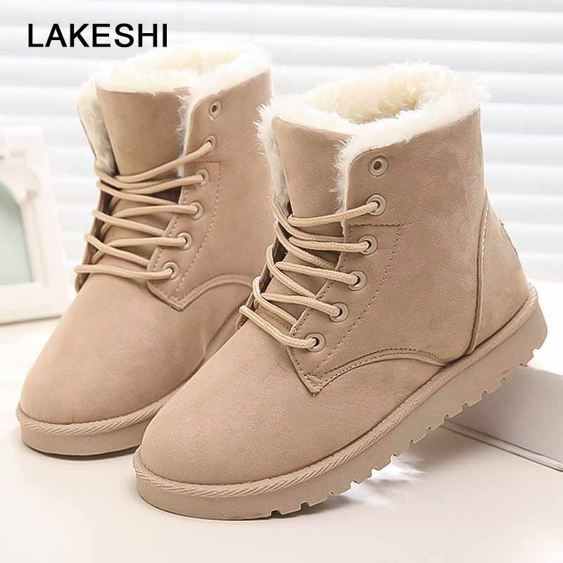Women Boots Winter Ankle Snow Boots High Quality Warm Short Plush Fur Suede Lace-Up Female Shoes 2017 new fashion women winter boots classic suede ankle snow boots female warm fur plush insole high quality botas mujer lace up