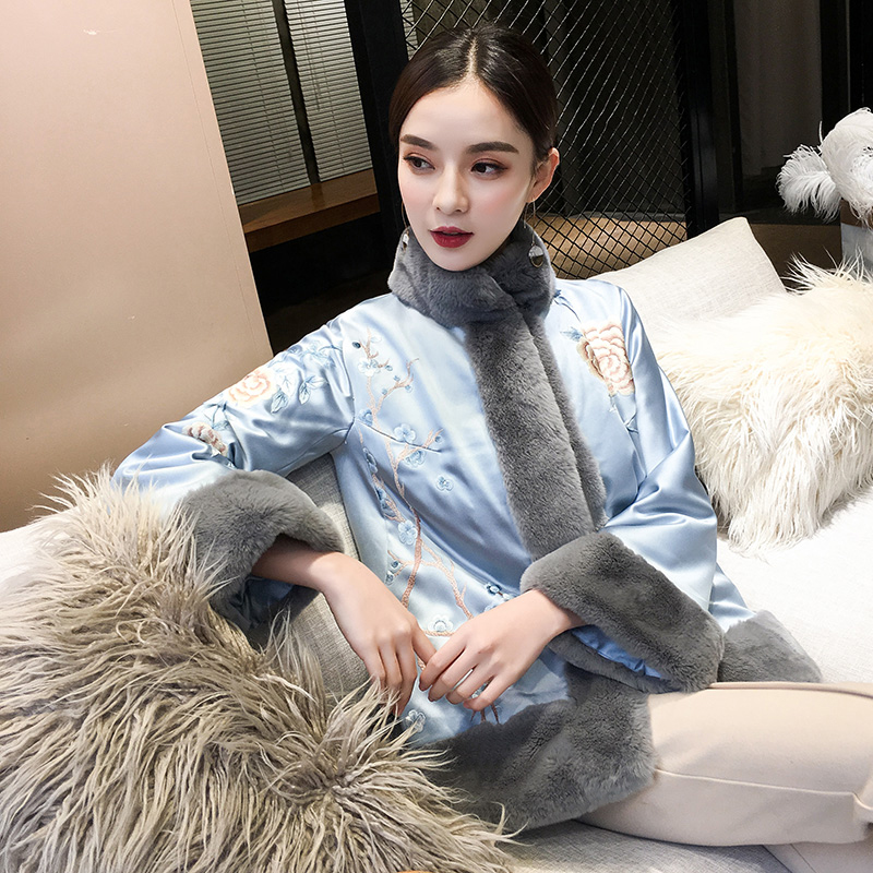 Elegant Women Chinese Style Cotton Padded Costume Autumn Winter Warm Long Sleeve Jacket Embroidery Flower Coat Tang Clothes