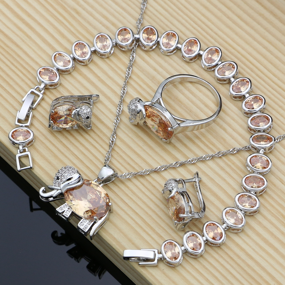 Bridal Jewelry Zircon Rings/bracelet 925-Silver for Champagne Elephant