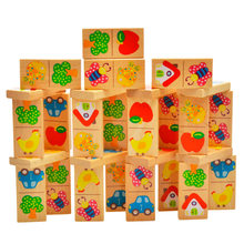 28Pcs Animal Garden Wooden Domino Blocks Set for Kids Play Intelligence Building and Stacking Blocks Board Game Education Toy(China)