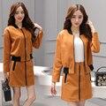 Женщины Куртка На Молнии Юбки Комплект Одежды Замши Бедра Бюст Юбка Костюмы Осенью Новый Корейский Моды Отдыха Двух Частей наряд S-XL