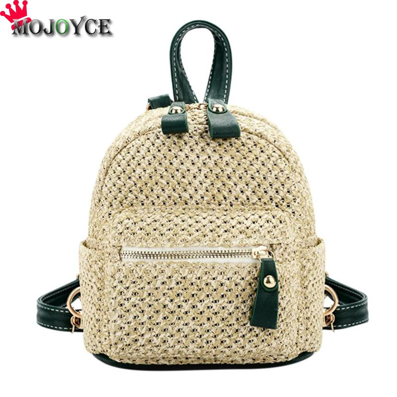 MOJOYCE Straw Weave Backpacks Women Mini Shoulder Bag Weave Hollow Out Travel Beach Satchel Schoolbags Girls New Style Backpack