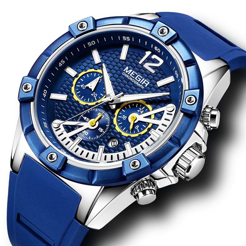 Megir Watch Sport Men Watch Silicone 2018 Luxury Brand Waterproof Army Men Watch Chronograph Mens Watches Casual Sport Quartz цена