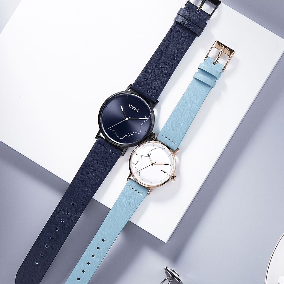 EYKI Brand Women Creative Watch Men Love Quartz Wrist Watch Lovers Ultra thin Leather Watches Smiley Face Dress With Gift Box creative unisex leather strap watches men luxury brand men watch for lovers black white lady quartz women dress clock as gift